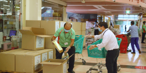 wasl properties provides food boxes to tenants at Naif and Al Ras