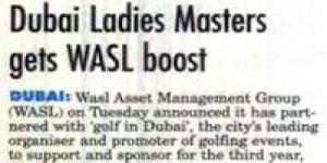 Dubai Ladies Masters gets wasl boost