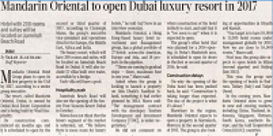 Mandarin Oriental To Open A Luxury Urban Resort In Dubai