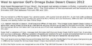 wasl to Sponsor Golf's Omega Dubai Desert Classic 2012